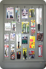 products on peg board